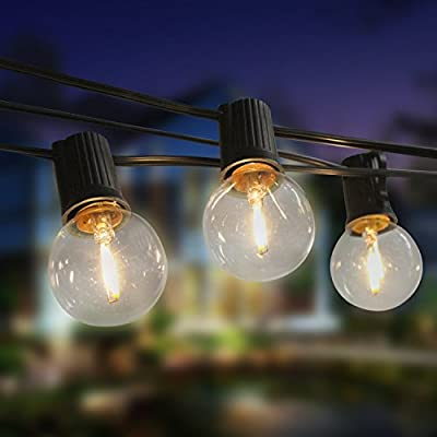 LEDGlobe StringLights with Warm white G40 LED Bulbs, Blu7ive Weatherproof Indoor Outdoor Decorative Lights for Patio Cafe Bistro Garden Porch Backyard Party
