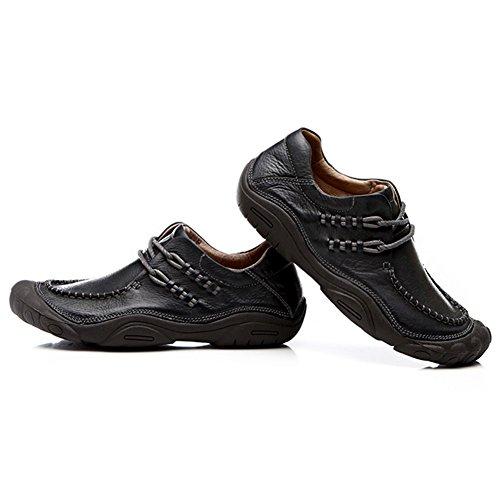 Jamron Hombres Comodidad Piel Genuina Al Aire Libre Aptitud Zapatos Flexible Suela de Cinco Dedos Zapatos de Senderismo Negro