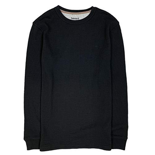 (Timberland Men's Long Sleeve Crew Waffle Shirt (Black, Large))