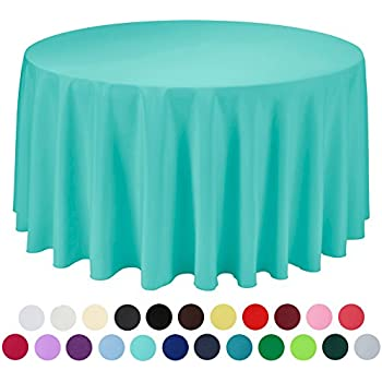 VEEYOO 120 Inch Round Solid Polyester Tablecloth For Wedding Restaurant  Party , Turquoise