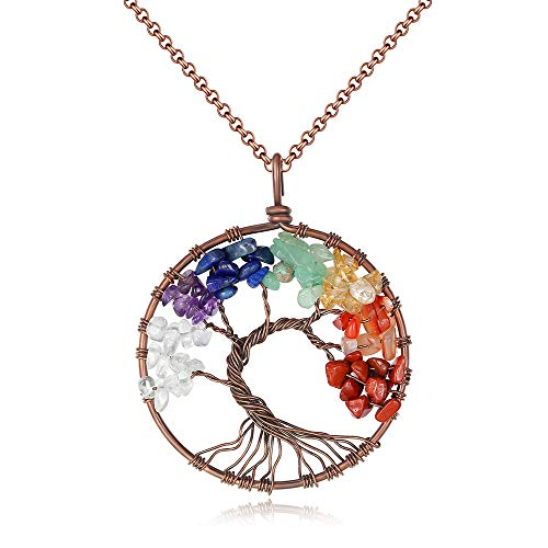 U Angela Tree of Life Gemstone Pendant Necklace Amethyst Rose Crystal Chakra Jewelry (Chakra-01) ()