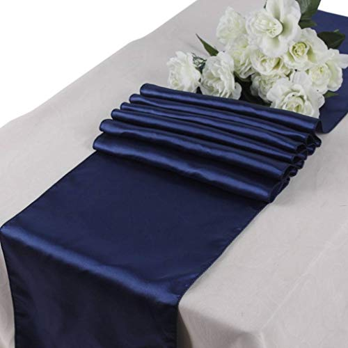 mds Pack of 10 Wedding 12 x 108 inch Satin Table Runner for Wedding Banquet Decoration- Navy Blue by mds