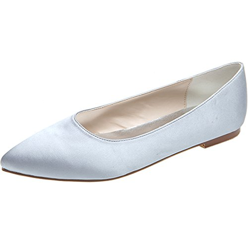 LOSLANDIFEN Women's Elegant Pionted Toe Wedding Ballet Fl...