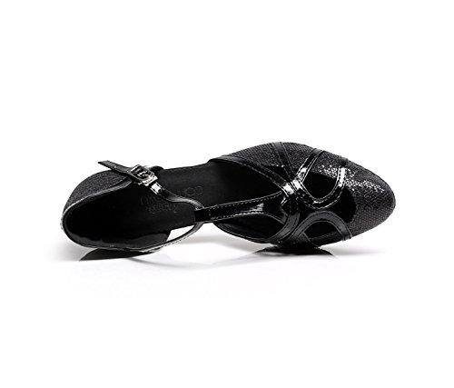 Shoes EU36 Black Latin Tango Brillo UK4 heeled6cm Our37 T PU Punk Cuero Ballroom Cerrado Salsa Mujer Tacón 5 Dance Strap JSHOE Alto RZaqPx