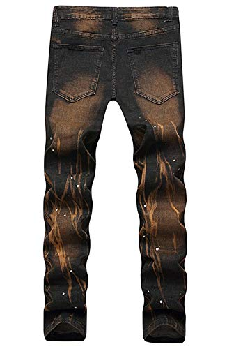 Uomo Lavati Braun Slim Pantaloni Estilo Gamba Dritta Fit Ufig Strappati Jeans Especial Da Casual IwZ5AqIp