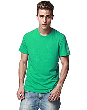 Green Label Men's Round Neck Tee Shirt wt Big Laurel Print