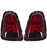 KIMISS Taillights Assembly,VLAND for JCW Union Jack Full LED Tail Lights Red Lens Fits for R56 R5...