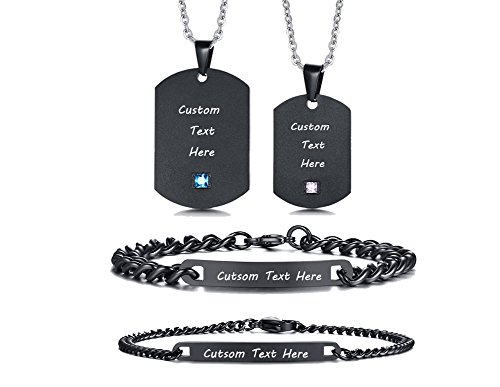 XUANPAI Personalized Custom Engraved Name Stainless Steel ID Bracelet+Matching Dog Tag Necklace Set for Couples by XUANPAI