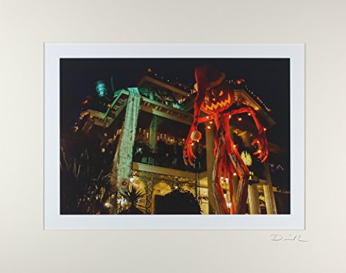 Disneyland - New Orleans Square Haunted Mansion Night Exterior Halloween Holiday Matted Photo - 11 x 14