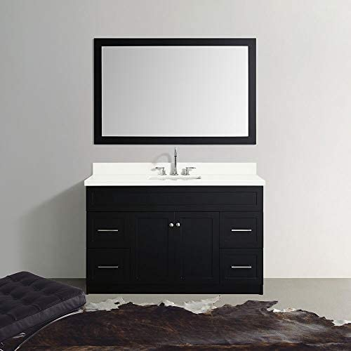 ARIEL Hamlet F055S-WQ-BLK 55 Inch Single Rectangular Sink Bathroom Vanity Set in Black with White Quartz Countertop