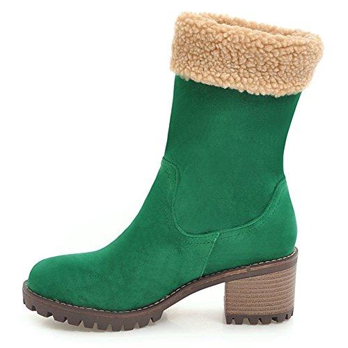 21bd0eefc039a Vimisaoi Women's Suede Warm Mid Block Heels Slip On Solid Color Mid Calf  Snow Boots