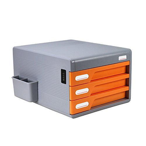 3 cajones de armario de documento con cerradura codificada de escritorio, Evertop organizador de Escritorio Oficina...