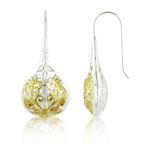 Large Filigree Teardrop Hook Earrings with Gold Overlay in Two Tone Sterling Silver by Silver Insanity
