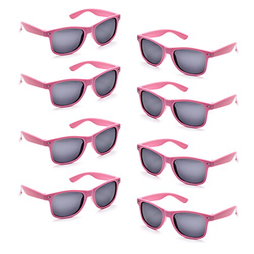 Neon Colors Party Favor Supplies Unisex Sunglasses Pack of 8 - Pink Plastic Sunglasses