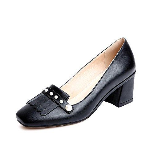 Nine Seven Moda Cuero Puntera Cuadrada Zapatos de Tacón Grueso con Flecos y Perlas para Mujer negro