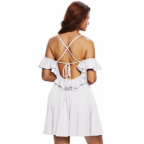 QIYUN.Z Cuello En V Manera De Las Mujeres Sin Espalda Del Vestido Del Cortocircuito De La Correa De Espagueti Del Hombro Blanco