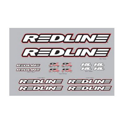 Red Line Complete BMX Frame Decal Set White.