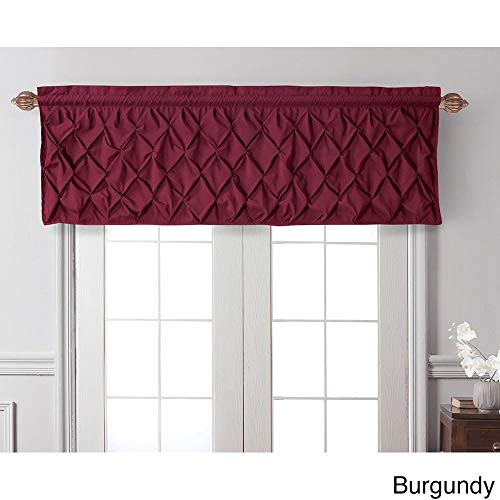 1 Piece Carmen Tailored Burgundy 20 Inch Window Valance, Curtain, Puckered Diamond Design, Solid Pattern, Contemporary Modern Style, Polyester Material, Beige, Coffee, Mocha, Tan, Chocolate