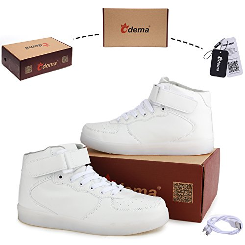 Men Top For Size White Breathable 5 Shoes High Up 4 Unisex Girls Boys LED 13 Odema Shoes Light Women Sneakers p7vxwn
