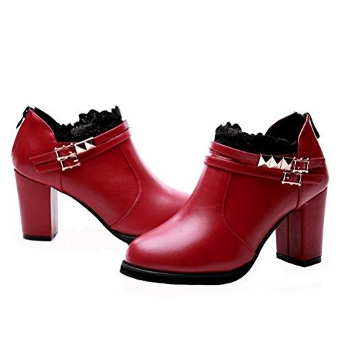 Dunhu Women Square High Heel Walking Scarpa In Pelle Fashion Dress Scarpa (nero / Rosso) Rosso
