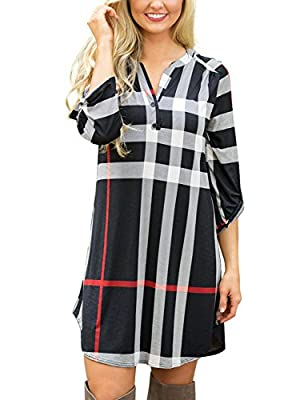 Grapent Women's Plaid V Neck Roll Up Long Sleeve Loose Casual Shirt Short Dress