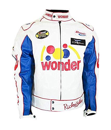 Men's Talladega Nights The Ballad Ricky Racing Bobby Wonder Leather Jacket ... (XX-Large, 100% Real Leather) White