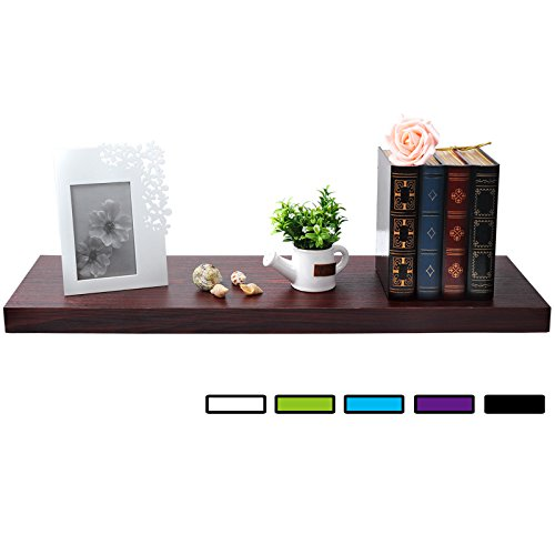 "WOLTU Floating Wall Shelves MDF Wall Mount Wood Ledge Display and Organizer Rack with Hidden Brackets,39.37"" long, Dark Wood, WS03dwdS100 from WOLTU"
