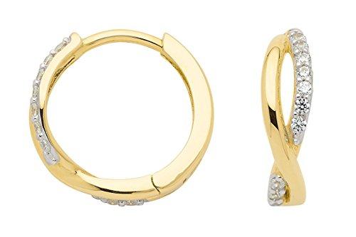 Boucles d'oreilles créoles avec zircone en or 3338carats rhodié