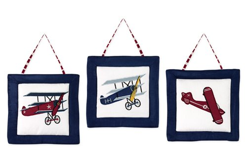 White and Blue Vintage Aviator Airplane Plane Baby Boy Bedding Crib Set Without Bumper Sweet Jojo Designs 11-Piece Red