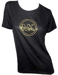 Michael Kors Womens Black Short Sleeve T Shirt MK Gold Studded Logo
