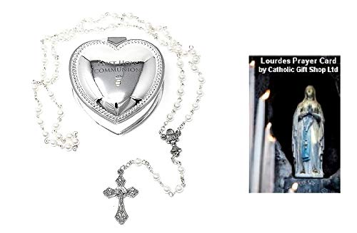 First Holy Communion Silver Plated Heart Rosary Box with Girls Communion Rosary Beads a Catholic Keepsake Gift & Lourdes Prayer Card