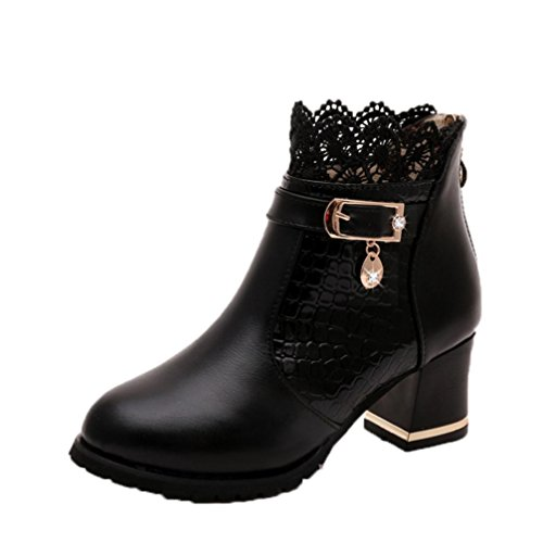 Women Zip Ankle Boots, Xinantime Thick Heel Platform Shoes Buckle Riding Boots Black