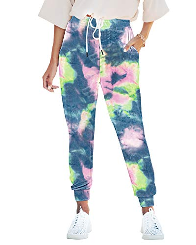 Seyorz Women's Joggers Pants Tie Dye Sweatpants Cuffed Soft Jogging Pants with Pockets Drawstring Design(Purple, Large)