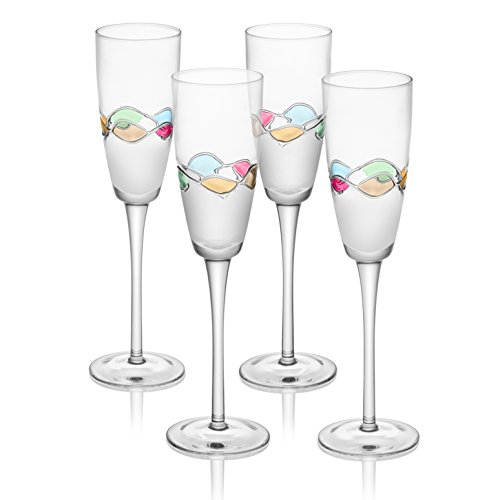 Trinkware Set of 4 Champagne Flutes With Hand Painted Colored Design- Long Stem Glasses, 8oz, 10-inches Tall – Elegant Glassware And Stemware