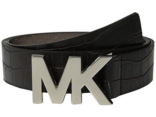 Michael Michael Kors Womens Thin Black Crocodile Embossed Leather Logo Plaque Belt Medium