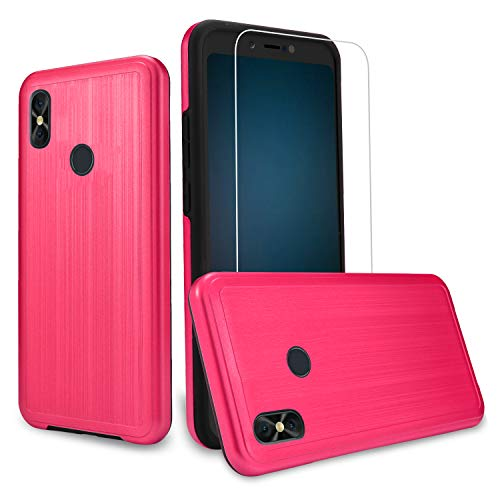 [Case + Screen Protector] BLU Advance A6 2018 Case, Compatible Case for Blu Vivo Go, BLU Studio Mega (2018) Case, [Tough Hybrid][Armor][Shockproof][Dual Layer][Drop Protection] Case (Pink + SP)