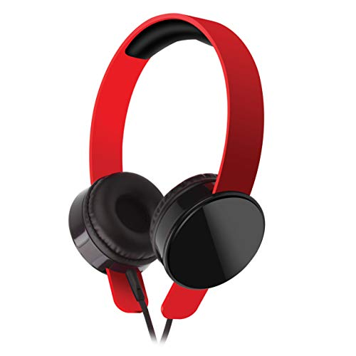 Tantra Rockstar Premium Wired Super Bass Headphone with Mic and Remote Control.  Red