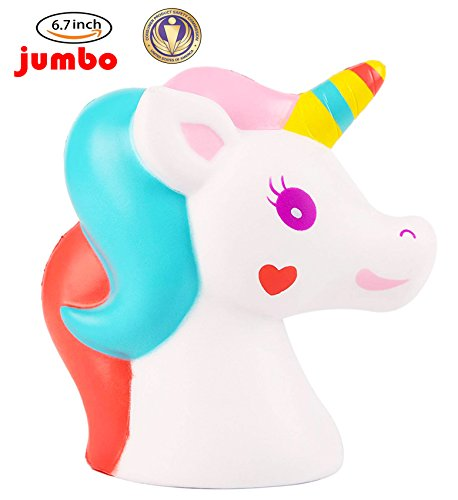 (Dialeesi Squishies Slow Rising Jumbo Cute Unicorn Horse Head – Kawaii Squeeze Toy Pack 6.7 inch | Soft and Cream Scented Stress Reliever for Kids)