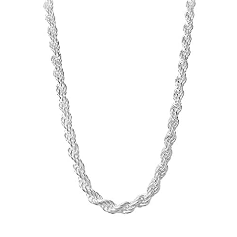 Sterling Silver Rope Chain Necklace Diamond-Cut Italian Made - 5.0mm - 22 inch (5mm Sterling Silver Rope)