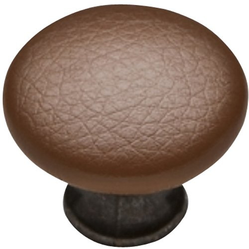 Knobware K3389-ORB/45/STK/BRN 1-1/8-Inch Brown Sta Kleen Faux Leather Covered Oil Rubbed Bronze Knob