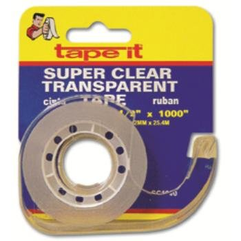 Super Clear Stationery Tape - 1/2'' x 1000'' Case Pack 72
