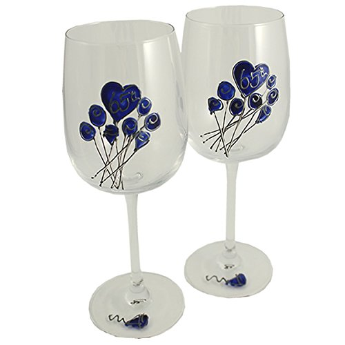 65th Wedding (Blue Sapphire) Anniversary Pair of Wine Glasses (Flower)