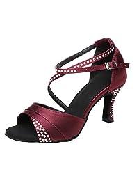 TDA Women s High Heel Crystals Satin Salsa Tango Ballroom Latin Modern Dance  Shoes 56db987ffaab