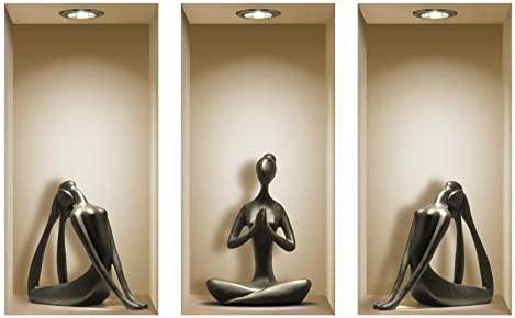 DIY Pegatinas Etiquetas para Pared Desmontables de Vinilo 3D Arte Mágico de Nisha, Conjunto de 3, Yoga Negro