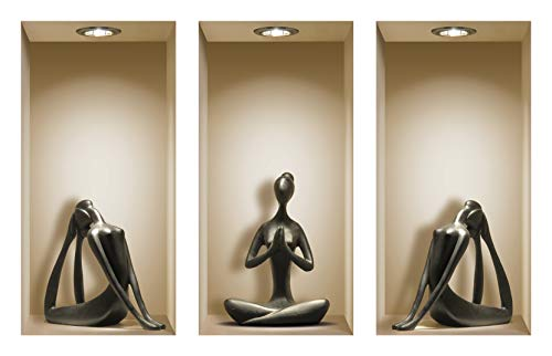 the Nisha Art Magic 3D Vinyl Removable Wall Sticker Decals DIY, Set of 3, Black Yoga