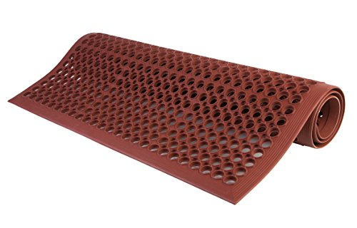 (Consolidated Plastics Lightweight DEK-Mat, Anti-Fatigue Kitchen Mat with Holes, 3'x5', Grease Resistant Red )
