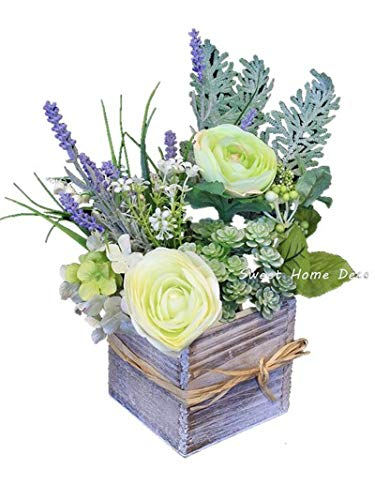 Amazon sweet home deco silk spring flowers fake succulents sweet home deco silk spring flowers fake succulents greenery arrangement w wooden vase home wedding mightylinksfo