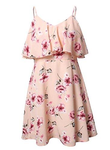 Coolred-femmes Épaule Hors Station Volantée Imprimé Floral Rose Robe De Vacances