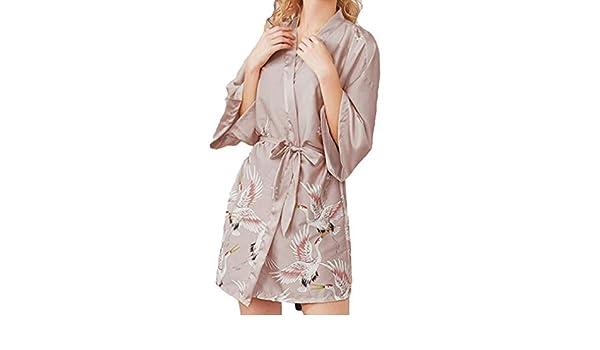 Mxssi Boda Novia Dama de Honor Bata de Ba/ño Albornoz Corto Kimono Bata Noche Bata Bata de ba/ño Moda Bata Mujeres