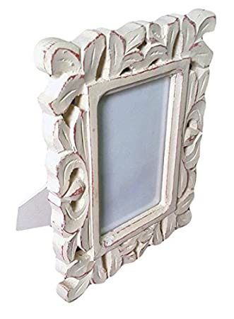 Buy Antique look photo frame carved with white finish Online at Low ...